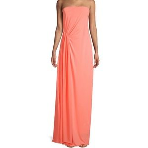 Halston Heritage Strapless Pleated Long Dress